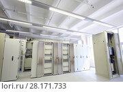 Купить «Telecom equipment in empty light modern communication center», фото № 28171733, снято 25 апреля 2016 г. (c) Losevsky Pavel / Фотобанк Лори
