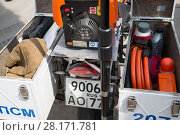Купить «RUSSIA, MOSCOW - MAY 29, 2015: Motorcycle with fire equipment stand on territory of fire station», фото № 28171781, снято 29 мая 2015 г. (c) Losevsky Pavel / Фотобанк Лори