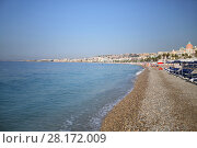 Купить «Beautiful beach and blue sea in Cannes, France at summer sunny day», фото № 28172009, снято 26 июля 2016 г. (c) Losevsky Pavel / Фотобанк Лори