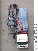 Купить «Tow truck is getting crashed black car to the platform on the highway», фото № 28172313, снято 9 сентября 2015 г. (c) Losevsky Pavel / Фотобанк Лори