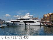 Купить «SAINT-TROPEZ, FRANCE - AUG 2, 2016: First building of new model 116 Mediterraneo shipyard Benetti of Displacement Class line, luxury yacht», фото № 28172433, снято 2 августа 2016 г. (c) Losevsky Pavel / Фотобанк Лори