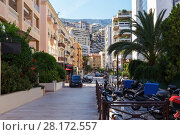 Купить «Narrow street of densely populated district of Monaco, with green bushes and parking for motorcycles», фото № 28172557, снято 3 августа 2016 г. (c) Losevsky Pavel / Фотобанк Лори