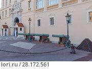 Купить «MONTE CARLO, MONACO - AUG 4, 2016: Entrance to Prince Palace of Monaco with guns and cannonballs», фото № 28172561, снято 4 августа 2016 г. (c) Losevsky Pavel / Фотобанк Лори