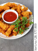 Купить «tasty crispy fried chicken breast strips», фото № 28177909, снято 1 марта 2018 г. (c) Oksana Zh / Фотобанк Лори