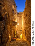 Купить «Древний город Яффа в Тель Авиве ночью, Израиль, Ближний Восток», фото № 28178073, снято 2 декабря 2015 г. (c) Наталья Волкова / Фотобанк Лори