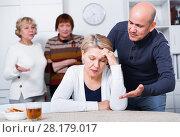 Купить «Mature man is warm apologizing to woman after quarrel», фото № 28179017, снято 16 декабря 2017 г. (c) Яков Филимонов / Фотобанк Лори