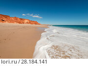 Купить «Beach waves on the white sands. Spectacular views of ochre-coloured earth and sandstone cliffs, white sands and aquamarine waters of the Dampier Peninsula...», фото № 28184141, снято 21 марта 2018 г. (c) Nature Picture Library / Фотобанк Лори