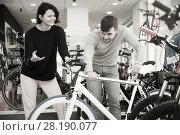 Купить «female and male looking sport bike», фото № 28190077, снято 8 января 2018 г. (c) Яков Филимонов / Фотобанк Лори