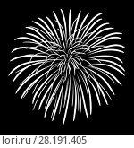 Купить «Fireworks on a black sky background», иллюстрация № 28191405 (c) Сергей Лаврентьев / Фотобанк Лори