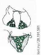 Купить «multi-colored beach bikini with fashionable pattern in stars isolated on white background», фото № 28191581, снято 22 марта 2017 г. (c) Tetiana Chugunova / Фотобанк Лори