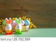 Купить «Easter festive background. Easter bunnies and Easter eggs in the box near the mimosa flowers», фото № 28192589, снято 27 февраля 2018 г. (c) Зезелина Марина / Фотобанк Лори