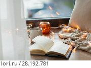 Купить «book and coffee or hot chocolate on window sill», фото № 28192781, снято 15 ноября 2017 г. (c) Syda Productions / Фотобанк Лори