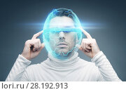 Купить «man in 3d glasses and virtual helmet», фото № 28192913, снято 17 ноября 2012 г. (c) Syda Productions / Фотобанк Лори