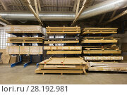 Купить «boards storing at woodworking factory warehouse», фото № 28192981, снято 10 ноября 2017 г. (c) Syda Productions / Фотобанк Лори