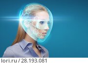 woman in virtual helmet and goggles over blue. Стоковое фото, фотограф Syda Productions / Фотобанк Лори