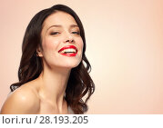 Купить «beautiful smiling young woman with red lipstick», фото № 28193205, снято 5 января 2018 г. (c) Syda Productions / Фотобанк Лори