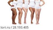 Купить «group of happy diverse women in white underwear», фото № 28193405, снято 17 апреля 2016 г. (c) Syda Productions / Фотобанк Лори