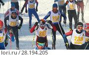 Купить «KAZAN, RUSSIA - March, 2018: group of teenagers skiers running at snow sunny day», видеоролик № 28194205, снято 9 апреля 2020 г. (c) Константин Шишкин / Фотобанк Лори