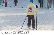 Купить «KAZAN, RUSSIA - MARCH, 2018: GIrl skier moves on ski track in sunny winter day», видеоролик № 28202829, снято 29 января 2020 г. (c) Константин Шишкин / Фотобанк Лори