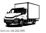Купить «Vector truck outline template isolated on white», иллюстрация № 28202905 (c) Александр Володин / Фотобанк Лори