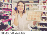 Купить «Woman choosing face powder at shopwoman, girl, customer, cosmetic, shop, store, boutique, test, applying, powder, foundation, brush, decorative, makeup, face, beauty, accessories, femininity, stylish, visage, choosing, shopping, market, sale, offer, choice, assortment, sample, shelves, new, quality, brand, price, emotion, concentrated, positive, indoors, portrait, young, adult, female, person, one, 20s, spanish, hobby, leisure, lifestyle,», фото № 28203837, снято 31 января 2018 г. (c) Яков Филимонов / Фотобанк Лори