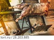 Купить «Whole bull carcass on spit», фото № 28203885, снято 24 марта 2019 г. (c) Яков Филимонов / Фотобанк Лори