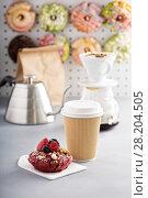 Купить «Berry shortcake donuts with coffee to go», фото № 28204505, снято 12 марта 2018 г. (c) Елена Веселова / Фотобанк Лори