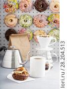Купить «Smores donuts with coffee», фото № 28204513, снято 12 марта 2018 г. (c) Елена Веселова / Фотобанк Лори