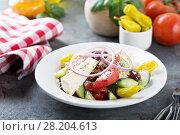Купить «Greek salad with fresh vegetables and feta», фото № 28204613, снято 14 марта 2018 г. (c) Елена Веселова / Фотобанк Лори