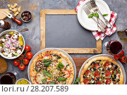 Margherita and pepperoni pizza with basil. Стоковое фото, фотограф Елена Веселова / Фотобанк Лори
