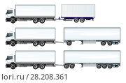 Купить «Vector road trains set template isolated on white», иллюстрация № 28208361 (c) Александр Володин / Фотобанк Лори