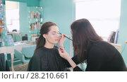 Professional makeup artist doing make-up with eye shadows. Стоковое видео, видеограф Константин Шишкин / Фотобанк Лори