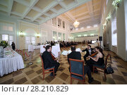 Купить «RUSSIA, MOSCOW - 05 MAR, 2015: Group of violinists are performing at literary award Yasnaya polyana in the Pashkov house», фото № 28210829, снято 5 марта 2015 г. (c) Losevsky Pavel / Фотобанк Лори