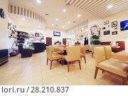 Купить «MOSCOW - OCT 9, 2016: Empty cafeteria during All hits of Humor concert in Crocus City Hall», фото № 28210837, снято 9 октября 2016 г. (c) Losevsky Pavel / Фотобанк Лори