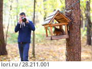 Купить «Man (out of focus) shoots wild squirrel in wooden feeder in sunny autumn forest», фото № 28211001, снято 10 октября 2016 г. (c) Losevsky Pavel / Фотобанк Лори