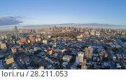 Купить «Cityscape with Dutch Kills quarter, Queensboro Bridge and Manhattan skyscrapers at summer evening. Aerial view», фото № 28211053, снято 23 февраля 2020 г. (c) Losevsky Pavel / Фотобанк Лори