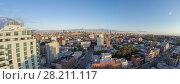 Купить «Cityscape with Dutch Kills district, Queensboro Bridge and Manhattan skyscrapers at summer evening. Aerial panorama», фото № 28211117, снято 23 февраля 2020 г. (c) Losevsky Pavel / Фотобанк Лори