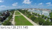 Купить «Cityscape with Museum of Natural History and Smithsonian Institution Building not far from Washington Monument on National Mall at summer sunny day in Washington DC. Aerial panorama», фото № 28211145, снято 25 апреля 2019 г. (c) Losevsky Pavel / Фотобанк Лори