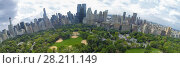 Купить «NEW-YORK - AUG 21, 2014: Heckscher Ballfields and Victorian Gardens in Central Park at summer day. Aerial panorama», фото № 28211149, снято 21 августа 2014 г. (c) Losevsky Pavel / Фотобанк Лори