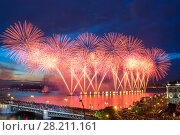 Купить «Crowd on Palace Bridge look at beautiful fireworks at night in St. Petersburg, Russia. I have only one version of the photo with sharpening», фото № 28211161, снято 21 июня 2014 г. (c) Losevsky Pavel / Фотобанк Лори