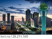 Купить «ASTANA, KAZAKHSTAN - JULE 15, 2014: Nurzhol Boulevard, monument Baiterek. Height Baiterek monument is 97 meters. Ball diameter is 22 meters.», фото № 28211165, снято 15 июля 2014 г. (c) Losevsky Pavel / Фотобанк Лори
