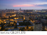 Купить «Residential buildings in sleeping area, skyscrapers and roofs at summer night in Moscow, Russia, Khoroshyovsky District», фото № 28211373, снято 18 июля 2016 г. (c) Losevsky Pavel / Фотобанк Лори