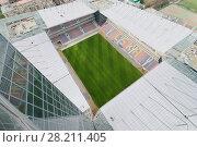 Купить «MOSCOW - APR 21, 2016: New Stadium CSKA Moscow will be built at end of 2016», фото № 28211405, снято 21 апреля 2016 г. (c) Losevsky Pavel / Фотобанк Лори
