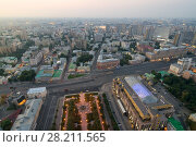 Купить «Moscow in morning, View from high-rise building on Kudrinskaya Square», фото № 28211565, снято 10 августа 2015 г. (c) Losevsky Pavel / Фотобанк Лори