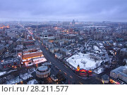 MOSCOW, RUSSIA - JAN 18, 2015: Moscow Zoo at winter. View from residential building on Kudrinskaya Square. Редакционное фото, фотограф Losevsky Pavel / Фотобанк Лори
