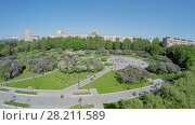 Купить «People get rest in Lilac Garden with Dry Fountain at spring sunny day. Aerial view. Garden total area is about 7 hectares.», фото № 28211589, снято 25 мая 2018 г. (c) Losevsky Pavel / Фотобанк Лори