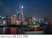 Купить «SHANGHAI - AUG 14, 2015: TV tower Oriental Pearl and skyscrapers with illumination at night, Tower third highest in Asia», фото № 28211745, снято 14 августа 2015 г. (c) Losevsky Pavel / Фотобанк Лори