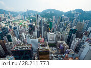 Купить «Skyscrapers and buildings in Hong Kong city, China at summer, top view from China Resources Building», фото № 28211773, снято 1 сентября 2015 г. (c) Losevsky Pavel / Фотобанк Лори