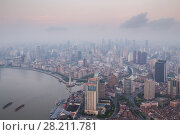 Купить «River and Shanghai city in fog at early morning, view from White Magnolia Plaza», фото № 28211781, снято 15 августа 2015 г. (c) Losevsky Pavel / Фотобанк Лори