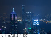 Купить «Night high Center tower with illumination and river in Hong Kong, China, view from Queen Garden», фото № 28211837, снято 4 сентября 2015 г. (c) Losevsky Pavel / Фотобанк Лори